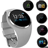 GKCD Heart Rate Monitoring Bluetooth Smart Wristband Sports Tracking Sleep Analysis Pedometer Men and Women 1 inch Color Screen Bluetooth Sports Watch,Gray (Color: Gray)