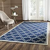 Safavieh Amherst Collection AMT412P Navy and Ivory Indoor/ Outdoor Area Rug, 6 feet by 9 feet (6' x 9')