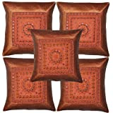 Home Decor Designer Mirror Embroidery Silk Cushion Cover 17 Inches Set 5 Pcs