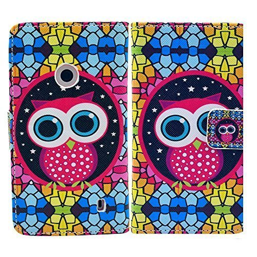 Nokia Lumia 520 Arte-Leder Nacht Eule Schutz-Hülle Case Flip Cover thematys