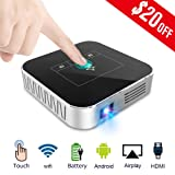 Mini Projector Portable DLP 2500 Lumens HD WiFi Bluetooth Support 1080P 200?Built-in Battery 4000mAh Android OS HDMI USB AV Home Theater Entertainment (Color: SIilver and Black)