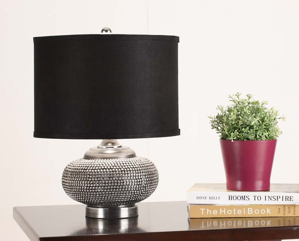 kings brand chrome body black fabric shade table lamp new ebay. Black Bedroom Furniture Sets. Home Design Ideas