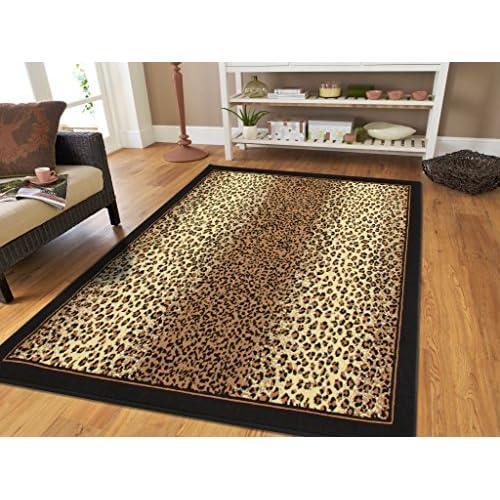 Brown Checkered Cheetah Rug Animal Print Rectangle Leopard Rug 5x7 Rug Brown Black Cream Rugs Leopard 5x8 Modern Rugs for Living Room (Medium 5x8 Rug)