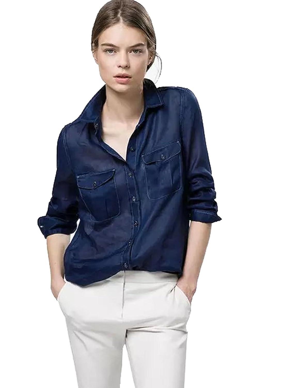(アールポート) R-port レディース ステッチ デザイン シースルー シャツ / ブルー L : 服&ファッション小物通販 | Amazon.co.jp