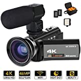 ACTITOP 4K Camcorder, Video Camera 48MP UHD WiFi 16X Digital Zoom IR Night Vision 3 inch IPS Touch Screen Video Camcorder with Microphone,Wide Angle Lens,LED Light and Camera Travel Bag (Color: HDV-1)