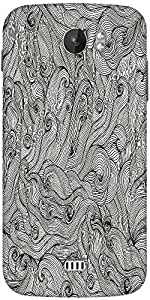 Snoogg Seamless Hand Drawn Waves Texture Designer Protective Back Case Cover For Micromax A110