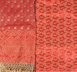 Exotic India Women's Kora Silk Salwar Kameez Dress Material (SMI62--spiced-coral _Spiced Coral)