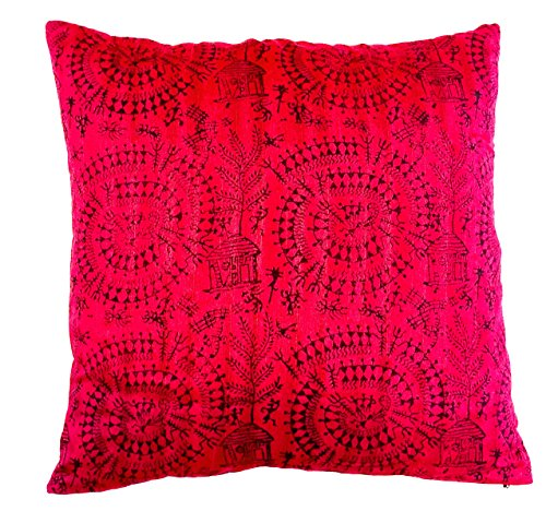 the-indian-promenade-16-x-16-inch-blended-cotton-warli-print-cushion-cover-bright-wine