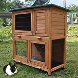 Hasenbedarf ᐅ Stall ᐅ Hasenstall mit 2 Stufen und Wasserfesten Dach