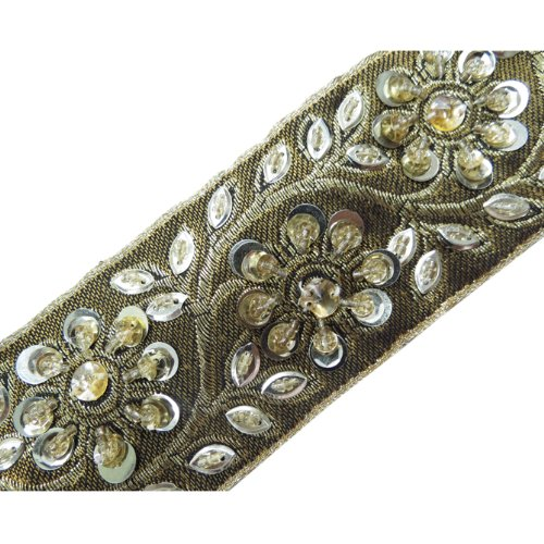 Light Gold Trim Hand Beaded Sequin Stone Ribbon 1 Yd