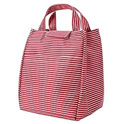 Dimayar Red 9.44'x7.67'x7.08' Velcro Closures Lunch Bag Insulated Lunch Bag Reusable Bags Lunch Bento Lunch Box Healthy Lunch Box Lunch Bags for Women&Men Lunch Boxes for Adults Insulated