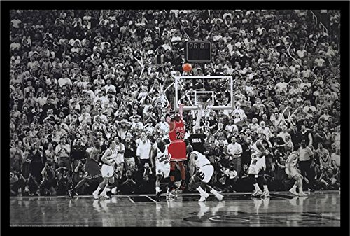 buyartforless IF PW 51126 36x24 1.25 Black Plexi Framed Michael Jordan - The Last Shot 36X24 Sports Art Print Poster NBA Chicago Bulls Superstar Legend (Framed Michael Jordan Poster compare prices)
