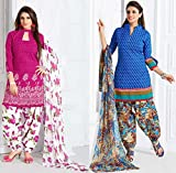 Parisha Latest Collection of 2 Pieces Combo of Patiyala Suits in Cotton Fabric & in attractive Pink & Blue Color