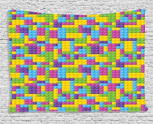Colorful Plastic Construction Blocks Cubes Geometric Childhood Game Illustration Purple Blue Green Supersoft Throw Fleece Blanket 59.05