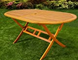 Wooden Dining Table made of Hardwood Folding Garden Tables FSC with Parasol holder 160cm