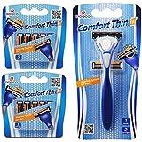 Dorco Comfort Thin II- Two Blade Razor Blade Shaving System (12 Pack + 1 Handle) (Tamaño: 12 Pack + 1 Handle)