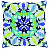 Vervaco Cross Stitch Cushion Blue Rosette