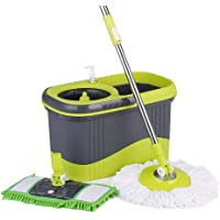 IKayaa Press Type Stainless Steel Rolling Magic Spin Mop & Bucket Set (Gray or Blue)
