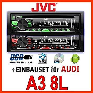 AUDI a3 8L jVC-kD-r469E cD/mP3/uSB avec kit de montage