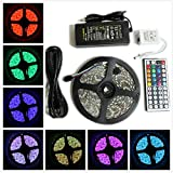 Superled 16.4ft 5m Waterproof Flexible Strip 300 Leds Color Changing RGB Smd5050 LED Light Strip Kit RGB 5m +44key Remote+12v 5a Power Supply