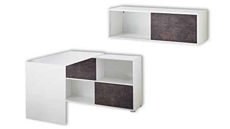 Germania 8710-261 2-tlg. Buromöbel-Set GW-Altino in Weiß/Basalto-Dunkel, 200 x 180 x 120 cm (BxHxT)