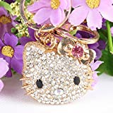 Beautiful 3D Luxury PURPLE Hello Kitty BIG HEAD Rhinestone Keychain