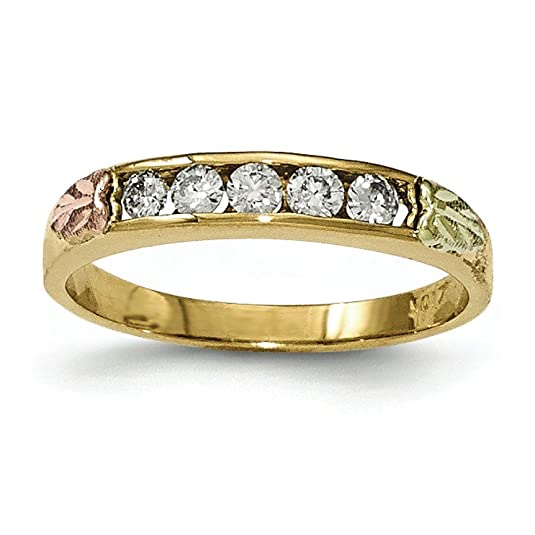 10k Tri-color Black Hills Gold Diamond Ring - Higher Gold Grade Than 9ct Gold