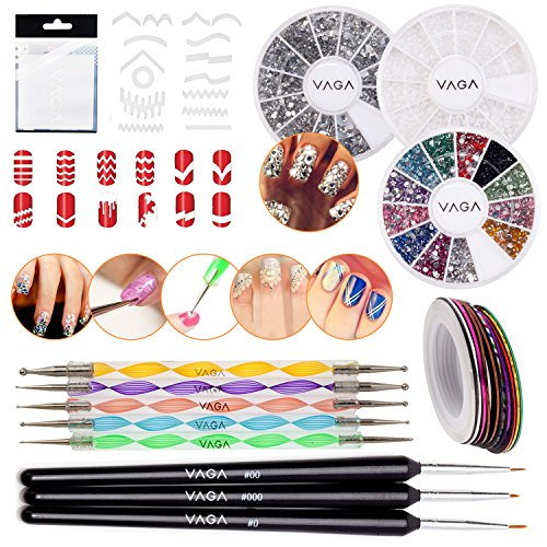 Nail-Art-Set-With-347pcs-Guides-Strips-In-13-Different-Shapes-2-Wheels-With-Rhinestones-Wheel-With-White-Pearls-3-Wooden-Fine-Detail-Brushes-5-Dotting-Tools-And-30-Rolls-Striping-Tapes-By-VAGA