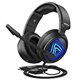 Mpow EG8 Gaming Headset for PC, PS4, Xbox One, Surround Sound Headset with Noise Cancelling Mic, On-Line LED Light/Volume/Mic Control, Memory Earmuffs, Gaming Headphone for PC, PS4 Gamer (Black) (Color: Black Blue)