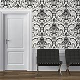 Direct Medallion Damask Pattern Glitter Motif Embossed Textured Wallpaper (Black White J75019)