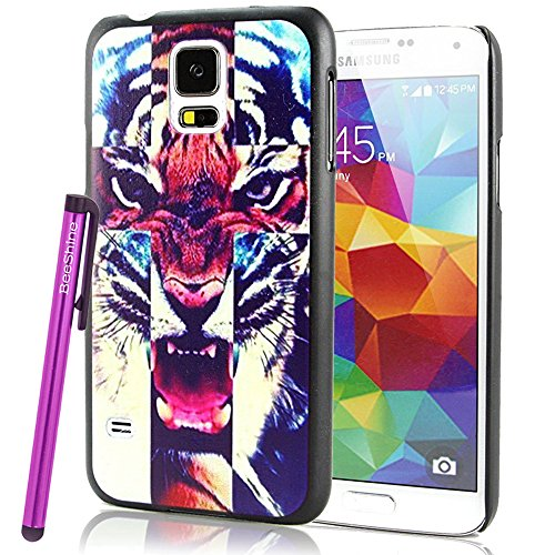 Beeshine Retail Package Snap-On Hard Plastic Skin Back Case Cover W/ Lcd Film Screen Protector & Touch Stylus Pen For Samsung Galaxy S5 / Sv /G900 (Roar Tiger Pattern)