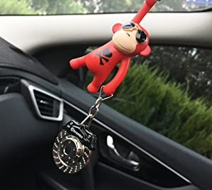 YGMONER Wearing Sunglasses Monkey Car Charm Interior Rear View Mirror Hanging brown /& bottle
