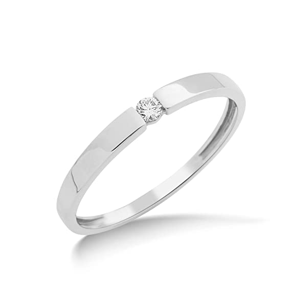 Miore MIN923R Ladies Solitaire 9 ct White Gold Ring with 0.05 ct White Diamond Round Cut