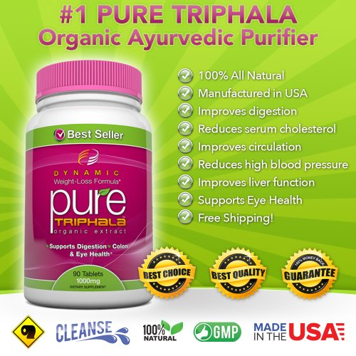 #1 Pure Triphala Organic Extract. Traditional Ayurvedic Purifier. 1000Mg, 90 Tablets - Supports Digestion, Colon And Eye Health, Detox, Cleansing And Weight Loss. Gmo-Free, Solvent-Free, High Potency Extract. Works Well With Pure Garcinia Cambogia, Pure R