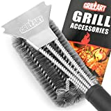 """Grill Brush and Scraper - GRILLART Best BBQ Brush for Grill, Safe 18"""" Stainless Steel Woven Wire 3 in 1 Bristles Grill Cleaning Brush for Weber Gas/Charcoal Grill, Gifts for Grill Wizard - NEW ARRIVAL"""
