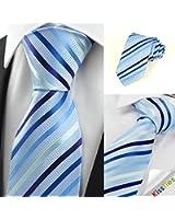 Striped Light Blue Jacquard Men's Tie Formal Necktie Wedding Holiday Gift #0017