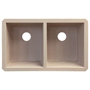 Transolid RUDE3118-16 Radius 19.125-in W x 31.75-in L Granite Double Equal Undermount Kitchen Sink, Cafe Latte