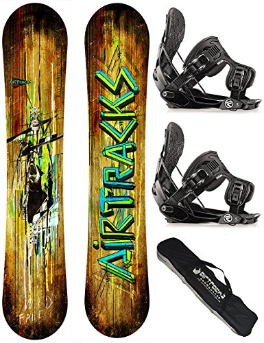 AIRTRACKS SNOWBOARD SET / WILD SNOWBOARD WIDE FLAT ROCKER + BINDUNG FLOW FIVE + SB BAG / 156 163 165 / cm