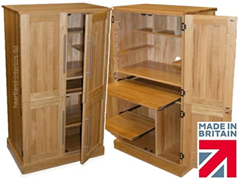 100% Solid Oak Workstation, 4 Door Computer Desk, Hideaway, Hidden Home Office PC Cupboard. Heartland Oak Range. No flat packs, No assembly (WSOKD8)