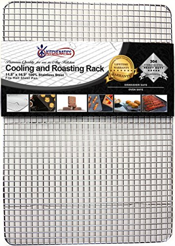 Kitchenatics Professional Grade Stainless Steel Cooling and Roasting Rack Wire Fits Half Sheet Baking Pan for Cookies, Cakes Oven-Safe for Cooking, Smoking, Grilling, BBQ - Heavy Duty Rust-Resistant (Slow Cooker Bag Non Electric compare prices)