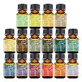 Art Naturals Top16 Pure Essential Oils - Peppermint, Tee Tree, Rosemary, Orange, Lemongrass, Lavender, Eucalyptus, Frankincense, Patchouli, Pine Tree, Lime, Grapefruit, Cinnamon, Bergamot & Tangerine