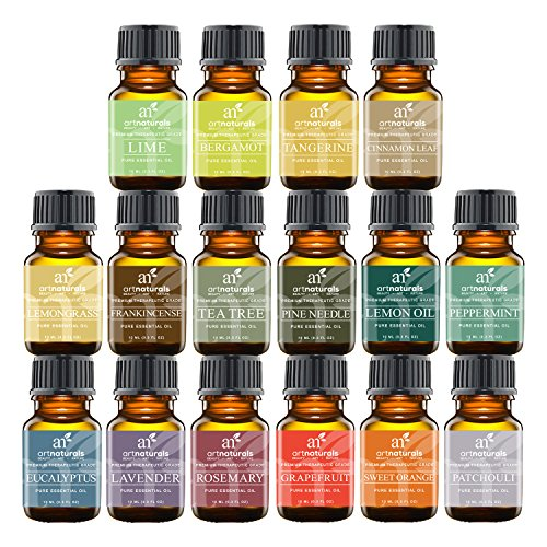 Art Naturals Top16 Pure Essential Oils - Peppermint, Tee Tree, Rosemary, Orange, Lemongrass, Lavender, Eucalyptus, Frankincense, Patchouli, Pine Tree, Lime, Grapefruit, Cinnamon, Bergamot & Tangerine