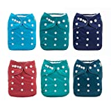 ALVABABY Cloth Diaper, One Size Adjustable Washable Reusable for Baby Girls and Boys 6 Pack with 12 Inserts 6BM97 (Color: 6BM97, Tamaño: All in one)