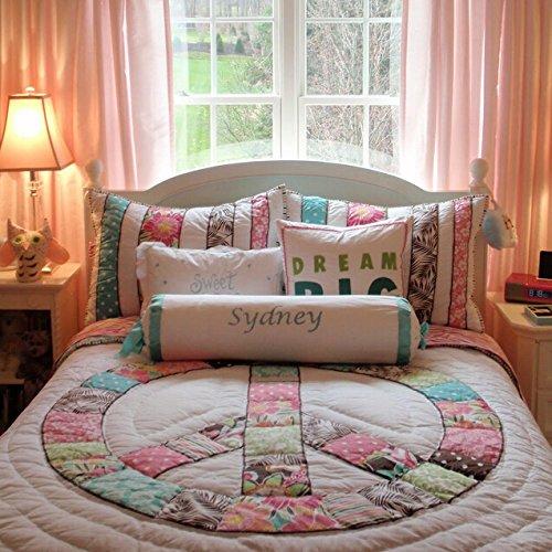 Brandream Queen Size Kids Girls Peace Sign Comforter Set Patchwork Quilts Set