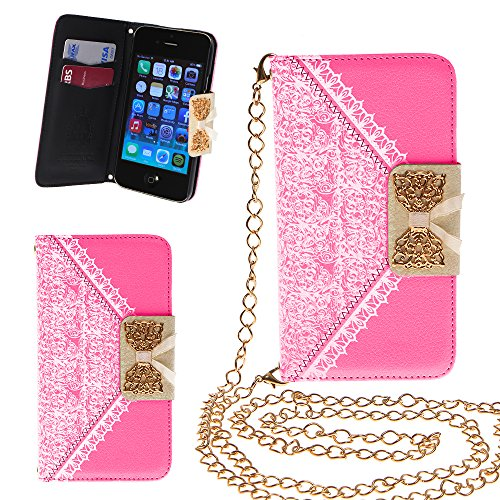 Xtra-Funky Exclusive Pu Leather Lace Pattern & Golden Bow Flip Case Cover Purse Handbag With Credit Card And Money Slots & Detable Golden Chain For Apple Iphone 5C - Pink