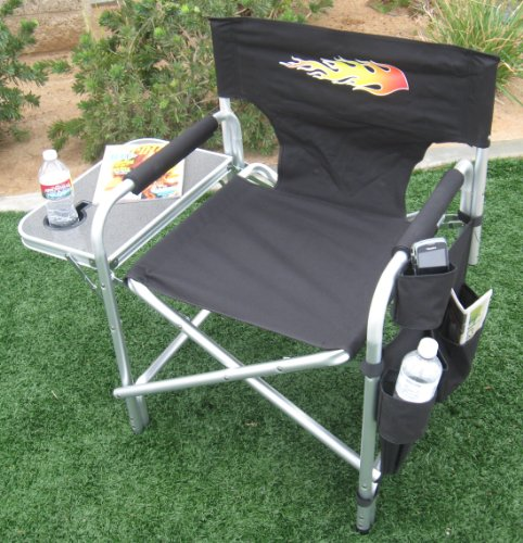 BIG DADDY- Heavy Duty Oversized Director Chair w/ Folding Side Table-Cell Phone & Drink Holders-10 Years Warranty...A BONUS SOLAR RECHARGEABLE LED FLASHLIGHT INCLUDED WITH YOUR PURCHASE....