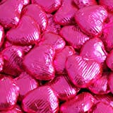Fuschia/Hot Pink Foil Wrapped Belgian Milk Chocolate Hearts - 10 pack
