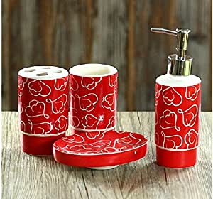 bathroom accessory sets creative heart shaped style red color of love pattern. Black Bedroom Furniture Sets. Home Design Ideas