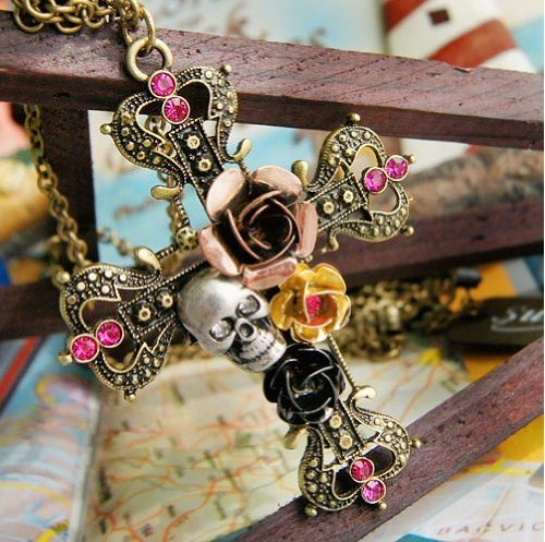 Fashion vintage cross with rose and skull pendant With Chain