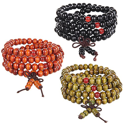 Areke Wooden Bead Bracelets For Men – Women Wood Necklace Link Chain 8mm Strand Prayer Wrist Color Set of 3